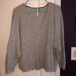 Free People Gray Oversized sweater with Frill